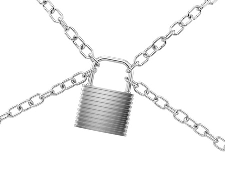 render of a silver lock with chains, isolated on white  Stock Photo - 16876277