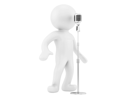 render of a man and a vintage microphone, isolated on white  photo