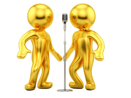 render of 2 man and a vintage microphone  photo