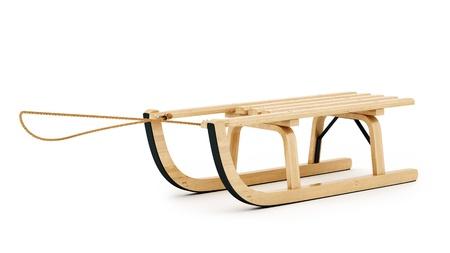 juguetes de madera: hacer de trineo de madera, aislado en blanco Foto de archivo
