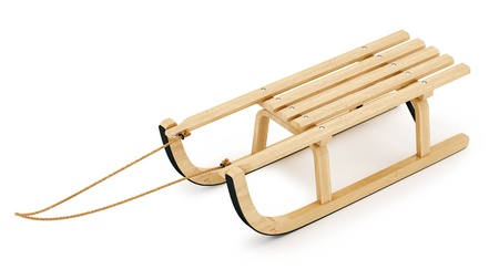 sledge: render of wooden sled, isolated on white