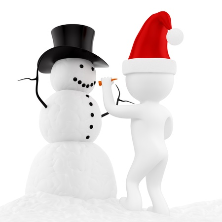 render of a snowman, isolated on white  Stock Photo