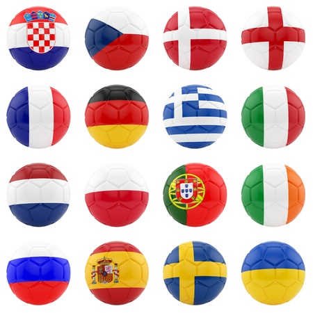 uefa: render of 16 soccer balls, isolated on white  Stock Photo