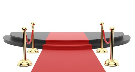render of the red carpet with stanchions on the side