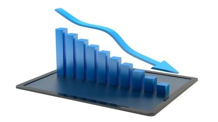 stock predictions: decrescente business graph su un tablet pc