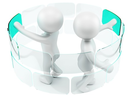 render of 2 man pushing virtual buttons Stock Photo - 16876316