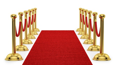 render of gold stanchions and a red carpet Stock Photo - 16876545