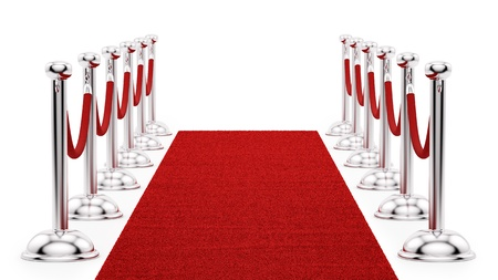 velvet rope barrier: render of silver stanchions and a red carpet