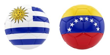 bandera de uruguay: rinde de dos balones de fútbol con banderas de Uruguay y Venezuela