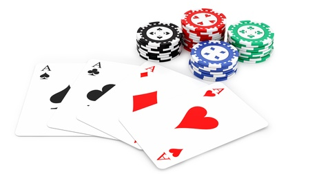 wager: render of 4 aces and casino chips, isolated on white