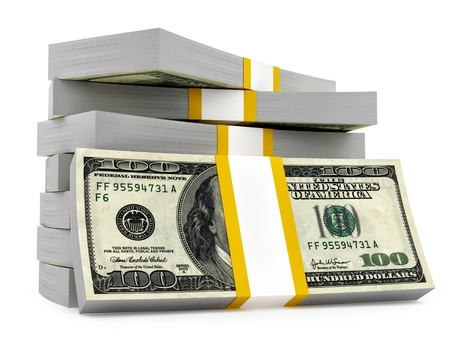 stacks: render of dollar stacks, isolated on white  Stock Photo