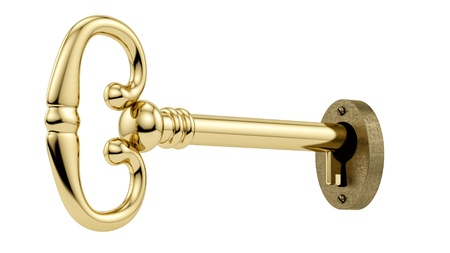 gold keyhole: render of a key in a keyhole, isolated on white