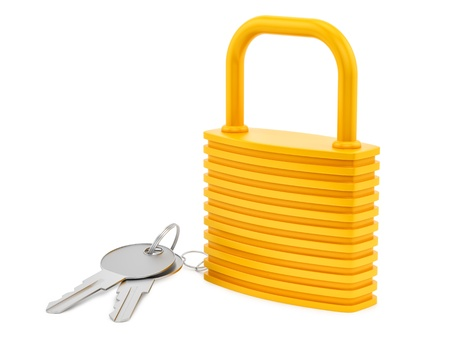 render of a lock and keys, isolated on white  photo