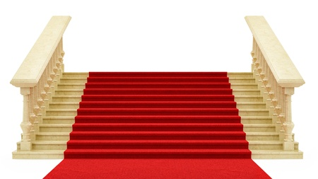 metal handrail: render of a red carpet on stairs, isolated on white