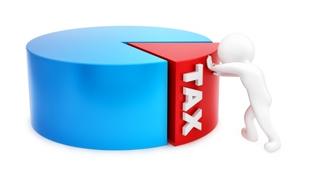 income tax: render of a man pushing tax slice, isolated on white
