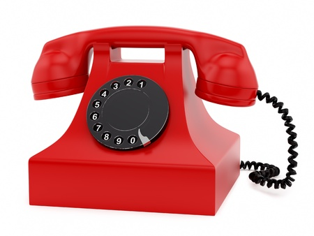 ringer: render of a retro telephone, isolated on white  Stock Photo