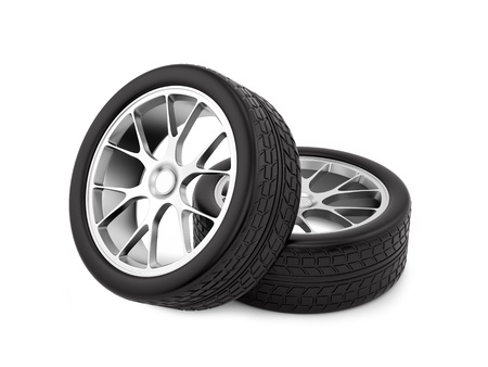 tire cover: render of wheels, isolated on white
