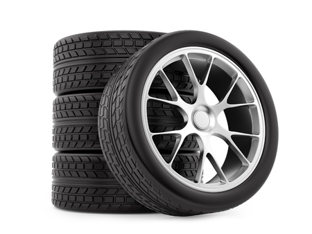 render of wheels, isolated on white  photo