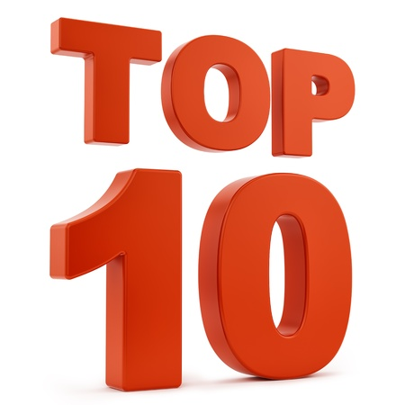 render of top 10, isolated on white  photo