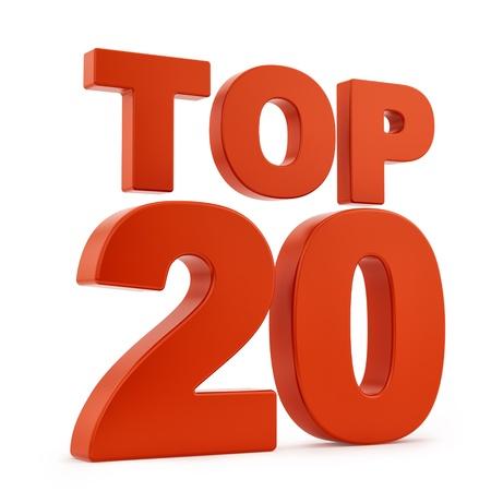 Render del Top 20, aislado en blanco Foto de archivo