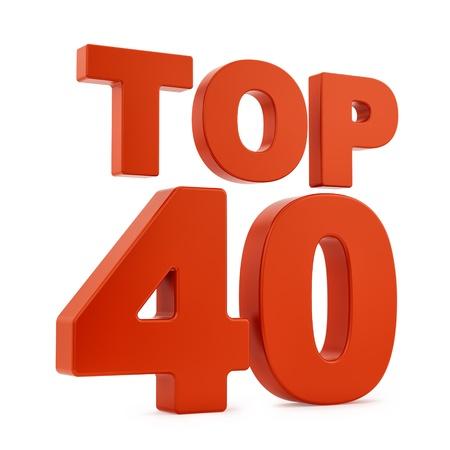 Render del Top 40, aislado en blanco Foto de archivo