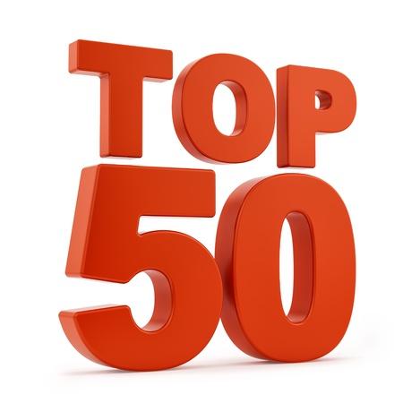 Render del Top 50, aislado en blanco Foto de archivo