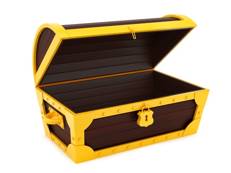 render of a treasure chest, isolated on white  photo