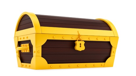 wooden lid: render of a treasure chest, isolated on white  Stock Photo