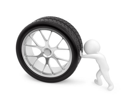 car workshop: render of a man pushing a wheel, isolated on white