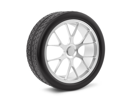 tire cover: render of a wheel, isolated on white  Stock Photo