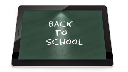render of a tablet PC with Back to School text, isolated on white  photo
