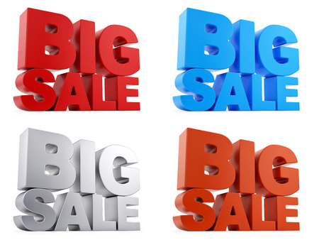 render of Big Sale text in 4 different colors, isolated on white  photo