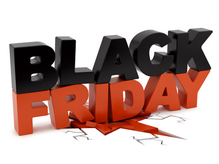 render of Black Friday crushing ground, isolated on white