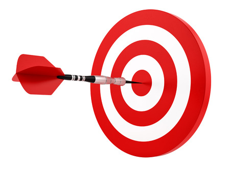 render of a dart hitting the target, isolated on white  photo