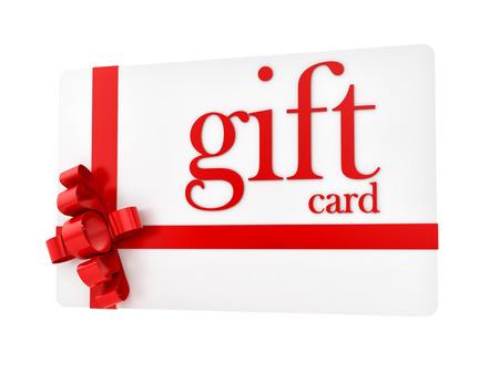 rinde de una tarjeta de regalo, aislado en blanco Foto de archivo