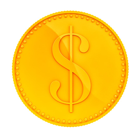 gold coins: render of a gold coin, isolated on white  Stock Photo