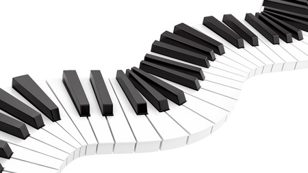 render of curvy piano keyboard, isolated on white  photo