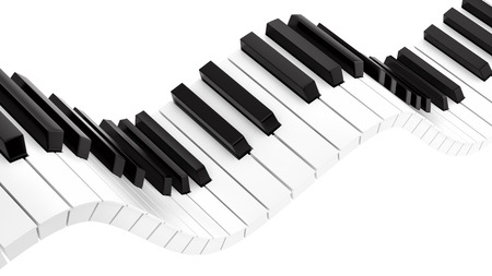 render of wavy piano keyboard , isolated on white