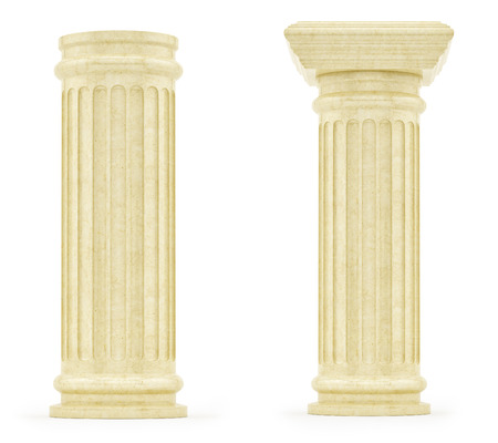 ionic: render of pillars, isolated on white