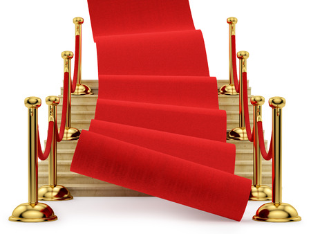 barrier rope: red carpet rolling down the stairs, isolated on white