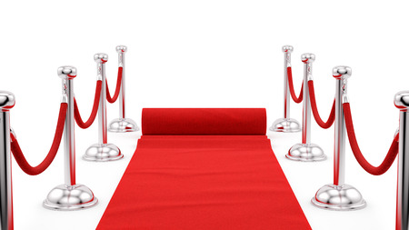red velvet rope: render of silver stanchions and a red carpet