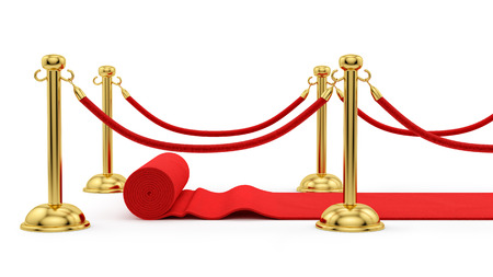 render of gold stanchions and a red carpet  photo