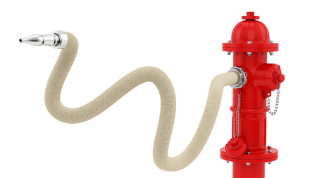 fire hydrant: render of a red fire hydrant with hose, isolated on white  Stock Photo
