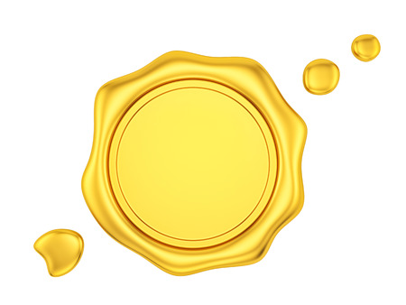 render of a gold wax seal, isolated on white
