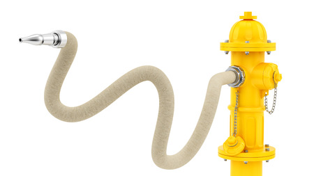 fire hydrant: render of a yellow fire hydrant with hose, isolated on white