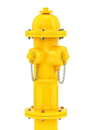 hydrant plug: render of a yellow fire hydrant isolated on white