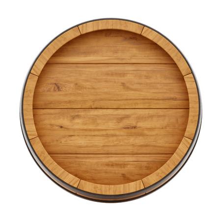 render de un barril de vino de arriba, aislado en blanco