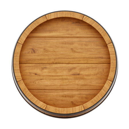 wooden barrel: render of a wine barrel from top , isolated on white