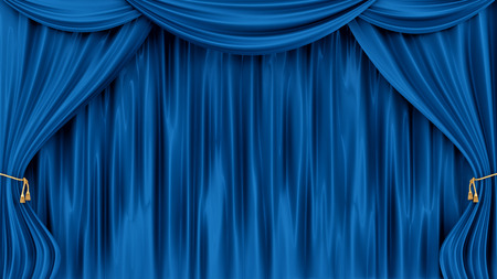 velvet rope: render of blue curtains, isolated on white