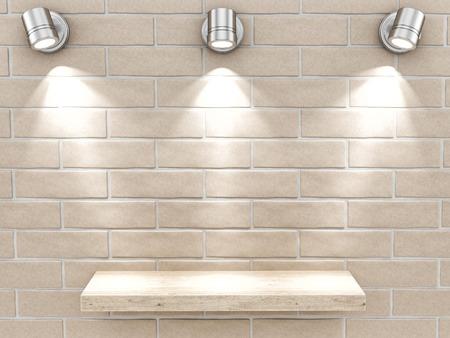 render of an empty shelf on a brick wall  photo